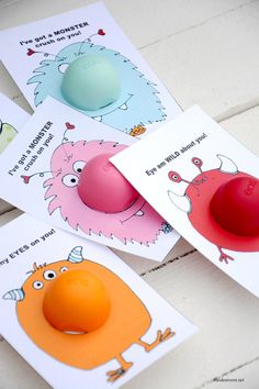 Make your friends happy with this cute EOS Lip Balm Monster Valentines cards. So easy! Free printables to make your very own.