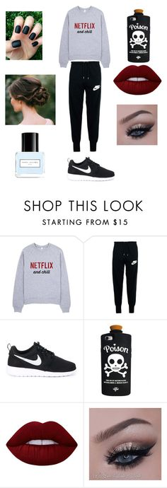 """""""Lazy but cute"""" by loohoo1999 ❤ liked on Polyvore featuring NIKE, Valfré, Lime Crime and Marc Jacobs"""
