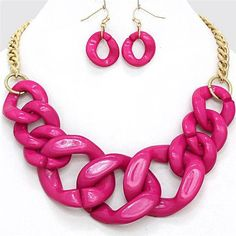 Chunky Bib Pink Curb Gold Chain Necklace Earring Set Fashion Costume Jewelry