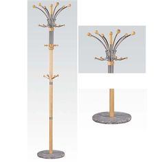 Nata Collection Modern Oak Finish Coat Rack with Marble Base