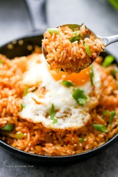 MINCED KIMCHI FRIED RICE & SUNNY-SIDE UP EGG [Korea, Modern] [chinasichuanfood] [asia pacific rice dish, fried rice]