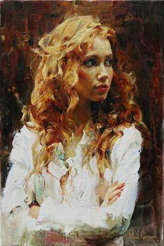 Michael Garmash, oil on canvas {contemporary figurative #impressionist beautiful blonde female head woman face portrait texture painting}