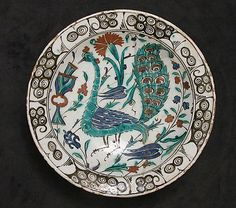 Dish with Peacock Design, early 17th century. Turkey, Iznik. The Metropolitan Museum of Art, New York. Gift of Edward J. Wormley, 1965 (65.103) #peacock