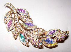 Vintage Brooch Pin Aurora Borealis by BrightgemsTreasures on Etsy, $34.50