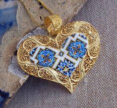 Portugal Filigree Handmade Heart Pendant Necklace with Azulejo Tiles - Sterling Silver in 24k Gold Bath