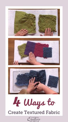 Learn four simple methods forto created textured fabric for your quilt Quilting Fabric, Quilting Tips, Quilting Projects, Heather Thomas, Tutorials, Exercise, Tools, Quilts, Sewing