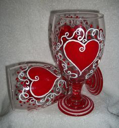 Valentine Hand Painted Wine Glasses Red by SharonsCustomArtwork, $25.00