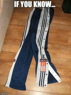 Ah the days of the button up track pant. Super cool.