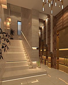 Interesting Staircase Designs Ideas ~ 70 Interesting Staircase Designs Ideas ~ Space Golden Geometry Custom Wallpaper – Warm White, Flexible LED Rope with 450 Units 2835 LEDs Original Modern Heavy Texture Carved Sculpture Floral Gold Home Stairs Design, Foyer Design, Lobby Design, Classic House Design, Modern House Design, Stairway Railing Ideas, Stairs Architecture, Modern Staircase, House Stairs