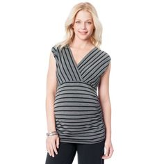 Oh Baby by Motherhood Striped maternity top sz L Oh baby by motherhood striped ruched top. Size large. Black & Gray. Polyester/rayon/spandex. Ruching on sides for comfort .oh baby size chart large 12-14 chest 40-41 hips 42/43. Please order pregnancy size. Brand new with tags Motherhood Maternity Other