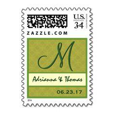 Lime Green Wedding Damask Monogram M A004 Postage Stamp