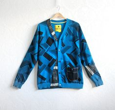Geometric Print Blue Mens Sweater Upcycled Clothing Black Cardigan Recycled Clothes Eco Friendly Mod Style Button Front Large RAVE