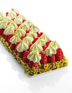 "Strawberry tart with pistachio cream ""Best Of Christophe Michalak"" Editions Alain Ducasse Sweet Desserts, Just Desserts, Sweet Recipes, Dessert Recipes, French Recipes, Pistachio Cream, Dessert Presentation, French Patisserie, French Pastries"