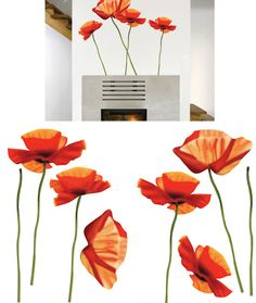 Art Applique Poppies Wall Sticker - Wall Sticker Outlet