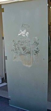 Frosted Glass Door with Carved Family Crest!