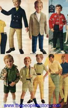 1968 Boys Clothes Pale yellows and navy blues were the focus of fashion in 1968 for boys. Simple understated plaids and plain stripes adorned the most casual looks while sports jackets that showed off your favorite teams were also popular.