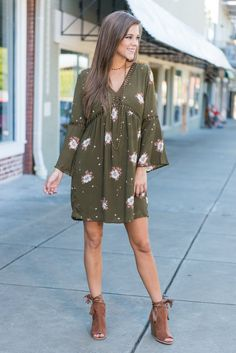 """""""Fall Floral Dress with Cut Out Details - Olive""""Fall florals are here and they are stunning! This olive green dress has just the right amount of color and just the right amount of boho! #newarrivals #shopthemint"""
