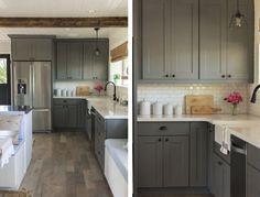 cozinha armario cinza bancada nanoglass piso madeira