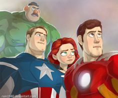• toy story buzz lightyear woody iron man crossover The Avengers Captain America jessie black widow hulk mr. potato head fuckyeahdisneyfanart •