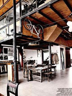 more loft awesomeness - killer bike storage and workspace