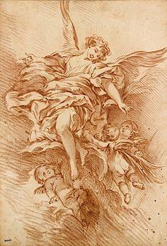 Attribué à François Boucher (1704-1770), 'L'Archange Gabriel entouré de putti'.
