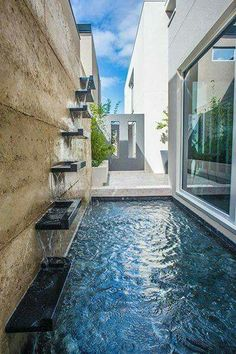 Modern Fountain Design: Mesmerizing Ideas to Beautify Your Backyard Small Swimming Pools, Small Pools, Swimming Pools Backyard, Swimming Pool Designs, Pool Landscaping, Backyard Pool Designs, Small Backyard Pools, Backyard Patio, Backyard Ideas
