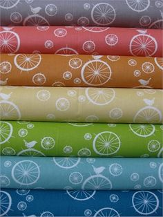 Jay-Cyn Designs for Birch Fabrics, Mod Basics, Organic, Birdie Spokes, in FAT QUARTERS, 7 Total