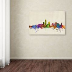 Milwaukee Watercolor Skyline by Michael Tompsett Painting Print on Wrapped Canvas