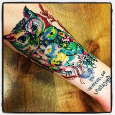 my owl tattoo , left forearm (dhar_mah)    by chago @ godspeed tattoos, breckenridge CO   #owl #tattoo #ink