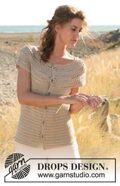 """Hayfield Beauty - Crochet DROPS short sleeved jacket with lace pattern and round yoke in """"Cotton Viscose"""". The piece is worked top down. Size: S - XXXL. - Free pattern by DROPS Design"""