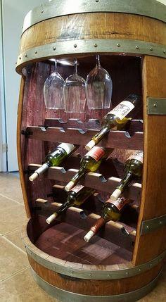 Pallet Wine Rack Diy, Wine Barrel Crafts, Whiskey Barrel Furniture, Wooden Wine Crates, Alcohol Dispenser, Diy Home Bar, Barrel Projects, Barrel Bar, Home Bar Designs