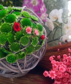 "curly willow 6"" ball with green margarita flowers and pink & red star flowers"