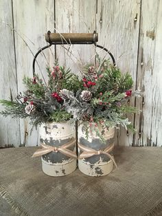 shop: A Primitive Double Winter Arrangement, Distressed Tin Christmas Centerpiece, FAAP, Holiday Arrangement, Christmas Arrangement Excited to share the latest addition to my Christmas Porch, Outdoor Christmas Decorations, Christmas Centerpieces, Primitive Christmas, Rustic Christmas, Christmas Wreaths, Christmas Ornaments, Country Christmas Crafts, Xmas