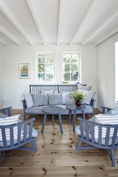 Blue & White Stripes With Wood