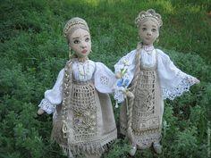 """Купить Куклы """"Сестрички - льняные косички"""" - кукла, интерьерная кукла, авторская кукла, коллекционная кукла"""