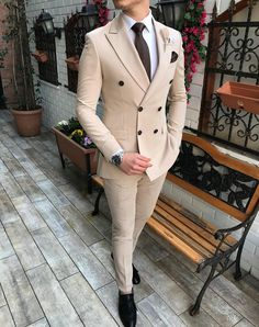 New Beige Men's Suit 2 Pieces Double-breasted Notch Lapel Flat Slim Fit Casual Tuxedos For Wedding(Blazer+Pants) Best Picture For yellow Blazer Outfit For Your Taste You are looking for something, and Gentleman Mode, Gentleman Style, Gentleman Fashion, Best Suits For Men, Cool Suits, Wedding Men, Wedding Suits, Tuxedo Wedding, Wedding Groom