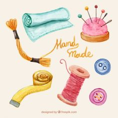 Variety of sewing items in watercolor Free Vector