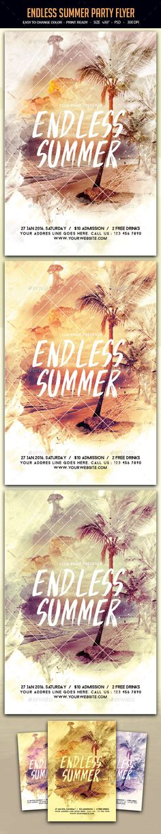Endless Summer Party Flyer Template PSD. Download here: http://graphicriver.net/item/endless-summer-party-flyer/15655274?ref=ksioks