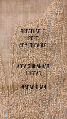 #Ada #handembroidered #Kota #Chikankari Kurta Pieces offers a comfortable and relaxed silhouette to the wearer. For more information please contact on WhatsApp numbers +91 8795160153 & +91 9129066155. #Adachikan #chikan #handcrafted #chikanstitches #lucknowi #shoponline #worldwidedelivery