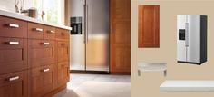 AKURUM kitchen with ÄDEL medium brown doors/drawers, PRÄGEL white stone effect countertop and TYDA stainless steel handles