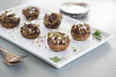 Olive and Feta Stuffed Mushrooms « Fresh Mushrooms My Recipes, Holiday Recipes, Holiday Foods, Muffin Pan Recipes, Appetizer Recipes, Appetizers, Onion Relish, Game Day Food, Mushroom Recipes