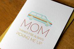 Minivan Mothers Day Card. $6.00, via Etsy.