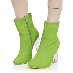Ankle Boots Lucite Heel Lime Green ($38) ❤ liked on Polyvore featuring shoes, boots, ankle booties, ankle boots, bootie boots, zip ankle boots, clear booties and block heel booties