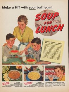 "Description: 1952 CAMPBELL'S SOUP vintage print advertisement ""Make a HIT"" -- Make a HIT with your ball team! Soup for Lunch ... Soup is perfect for your one hot dish with cool summer meals! * Campbell's Bean with Bacon Soup * Campbell's Chicken Noodle Soup -- Size: The dimensions of the full-page advertisement are approximately 10.5 inches x 14 inches (26.75 cm x 35.5 cm). Condition: This original vintage full-page advertisement is in Excellent Condition unless otherwise noted."
