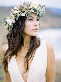 Boho floral crown: http://www.stylemepretty.com/california-weddings/2015/03/16/romantic-coastal-wedding-inspiration/   Photography: Coco Tran - www.cocotran.com