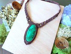 Macrame necklace, Malachite crystal necklace, Choker necklace, Elven Jewelry, Macrame jewelry, Festival jewelry, Strange Wilderness Jewelry by theStrangeWilderness on Etsy