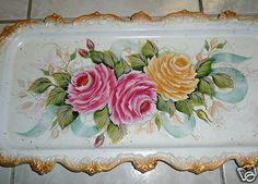 Hand Painted HP Shabby Chic Tray Pink and Yellow Roses Ribbon and Butterflies | eBay