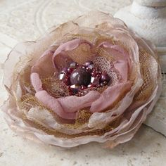 Reminisce  Layered Flower Brooch Pin Accessory or Hair ❤ by Viridian