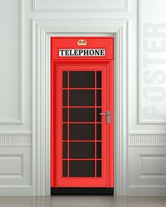 "Door STICKER Telephone Box London red mural decole film self-adhesive poster 31x79""(80x200 cm)"
