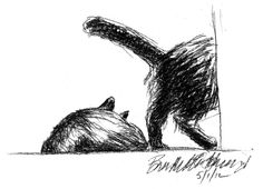 Daily Sketch Reprises: Minding Their Own Business and Toe Cleaning